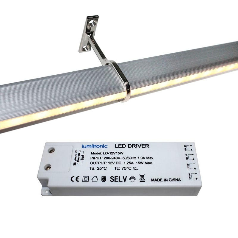 Locker kit barra con luz led de 55cm para armarios blanco for Barra para armario sin agujeros